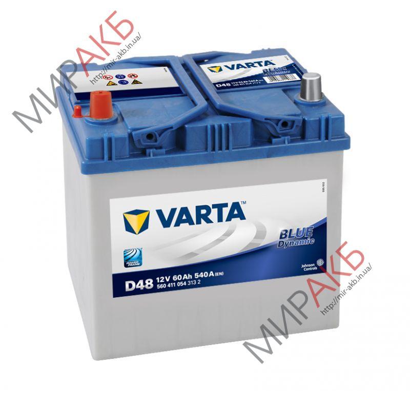 Аккумулятор VARTA 60Ач  BLUE DYNAMIC D47 540 A азия  232/175/225