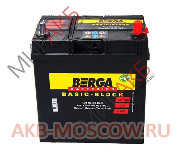 Аккумулятор BERGA 45Ач   330 A  азия 238/129/225