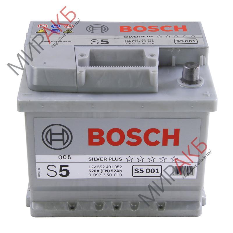 Аккумулятор BOSCH 52Ач S5 SILVER PLUS  520 A  207/175/175