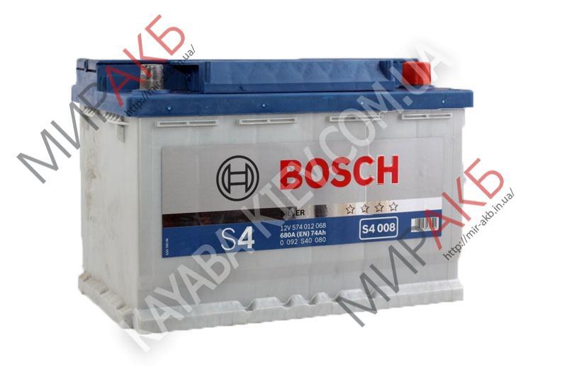 Аккумулятор BOSCH 74Ач S4 SILVER  680 A  278/175/190