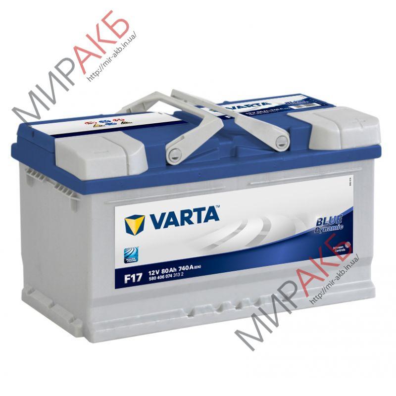 Аккумулятор  VARTA 80Ач  BLUE DYNAMIC Е17 740 A низкий 315/175/175